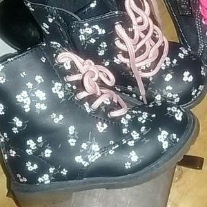 Dark blue cute floral boots
